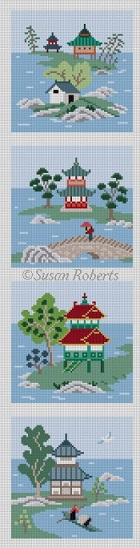 click here to view larger image of Asian Islands 4 Coasters Color (hand painted canvases)