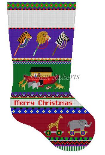 click here to view larger image of Bold Stripe Noahs Ark Stocking (hand painted canvases)