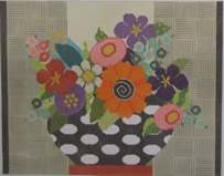 click here to view larger image of Flowers in Black/White Vase (hand painted canvases)
