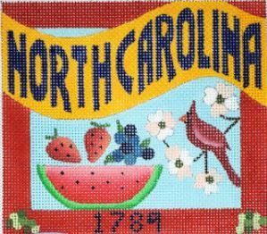 click here to view larger image of Postcard - North Carolina (hand painted canvases)