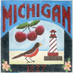 click here to view larger image of Postcard - Michigan (hand painted canvases)