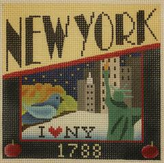 Postcard - New York - click here for more details about this hand painted canvases