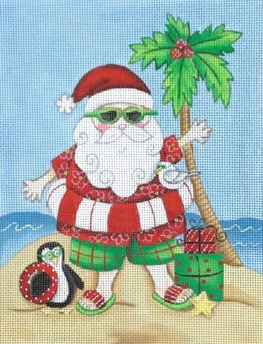 Santa - Beach - click here for more details about this hand painted canvases