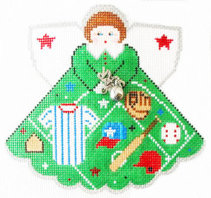 Baseball/Softball Star Angel - Charm included - click here for more details about this hand painted canvases