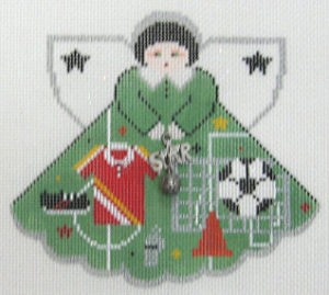 click here to view larger image of Soccer Star Angel - Charm included (hand painted canvases)