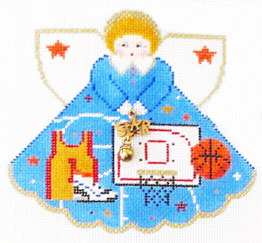 click here to view larger image of Basketball Star Angel - Charm included (hand painted canvases)