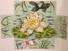 click here to view larger image of Lily Pond Brick Cover (hand painted canvases)