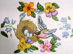 click here to view larger image of Birds/Flowers Brick Cover   (hand painted canvases)