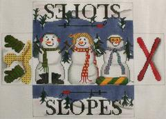 click here to view larger image of Snow People Brick Cover   (hand painted canvases)