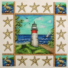 Lighthouse Pillow - click here for more details about this hand painted canvases