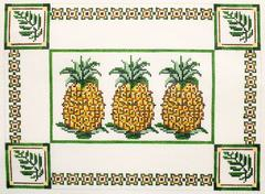 Three Pineapples Pillow - click here for more details about this hand painted canvases