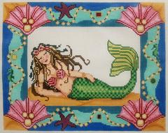 Mermaid Treasure Pillow - click here for more details about this hand painted canvases