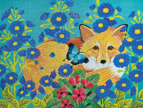click here to view larger image of Fox in the Flower Garden (hand painted canvases)