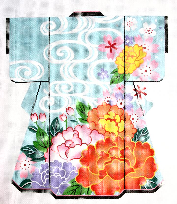 Warm Flowers on Blue Kimono - click here for more details