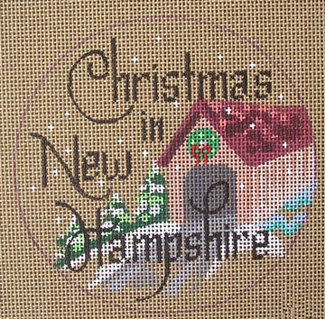 click here to view larger image of Christmas in New Hampshire Ornament (hand painted canvases)