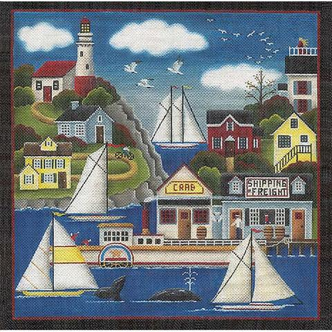 click here to view larger image of Lighthouse Harbor  (hand painted canvases)