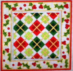 click here to view larger image of Christmas Plaid (hand painted canvases)