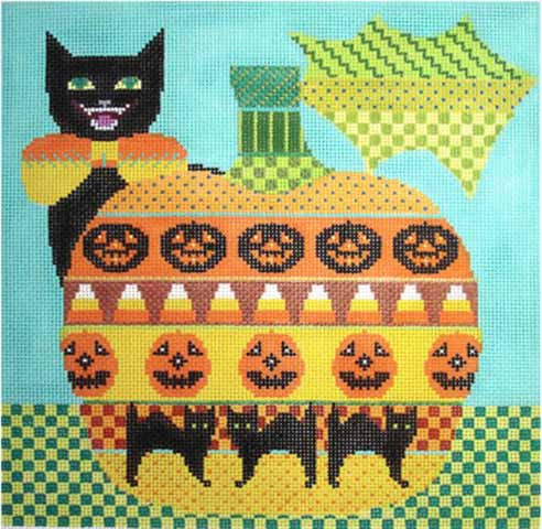 click here to view larger image of Kitty Jack O Lantern (hand painted canvases)