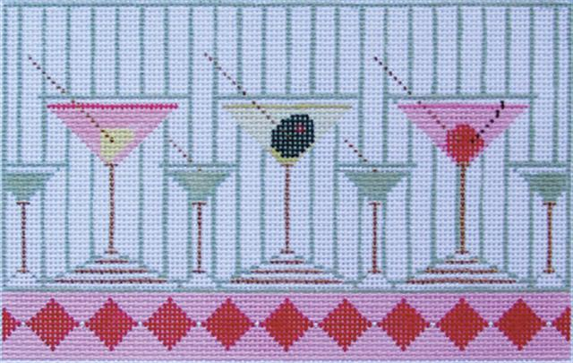 click here to view larger image of Martini's Anyone? - 18 Mesh (hand painted canvases)