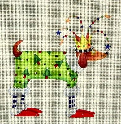 click here to view larger image of Christmas Pooch (hand painted canvases)
