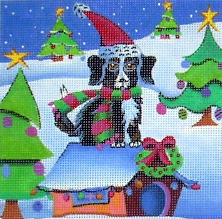 click here to view larger image of Black Mutt Christmas Dog (hand painted canvases)