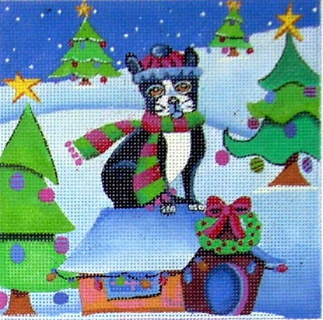 click here to view larger image of Boston Terrier Christmas Dog (hand painted canvases)