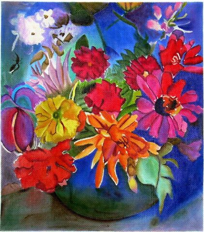 click here to view larger image of Riot of Flowers, A (hand painted canvases)