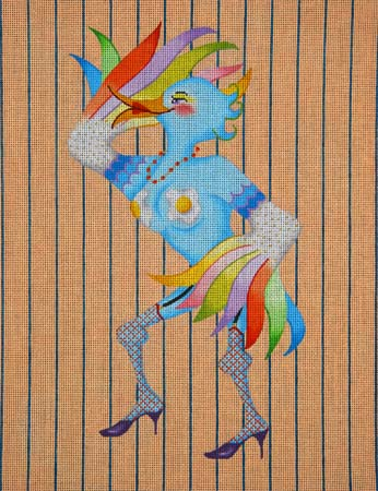 click here to view larger image of Garter Clad Fan Dancer (hand painted canvases)