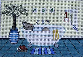 click here to view larger image of Cat Bath (hand painted canvases)