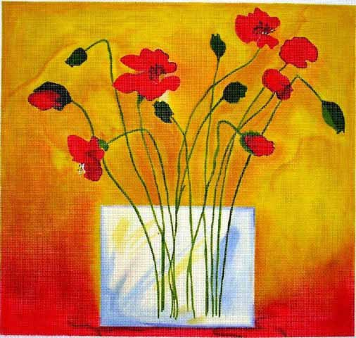 click here to view larger image of Poppies in Glass Vase (hand painted canvases)