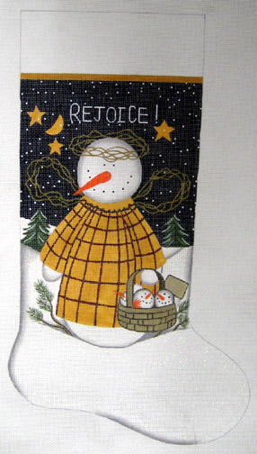 click here to view larger image of Rejoice Stocking - 13 Mesh (hand painted canvases)