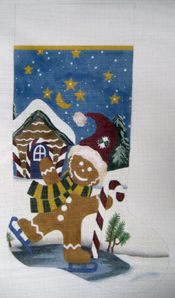 click here to view larger image of Christmas Cookie  Stocking (hand painted canvases)