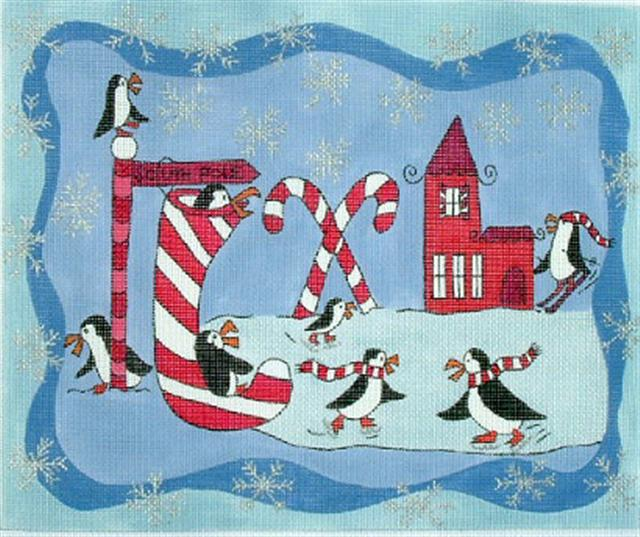 click here to view larger image of Penguin Christmas (hand painted canvases)