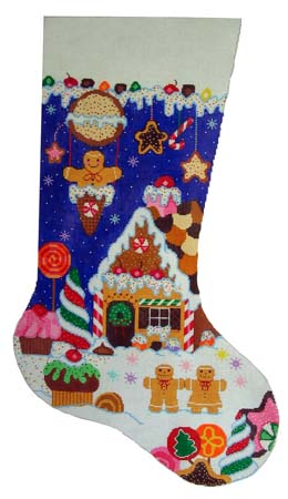 click here to view larger image of Candyland Stocking (hand painted canvases)