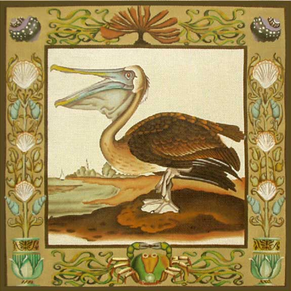 click here to view larger image of Pelicans Pillow (hand painted canvases)