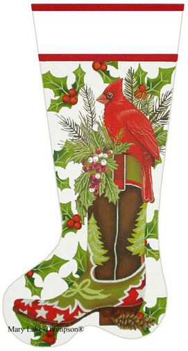 click here to view larger image of Cardinal Cowboy Boot Stocking (hand painted canvases)