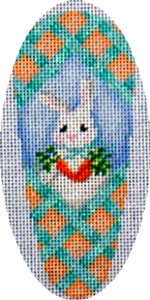 click here to view larger image of Aqua Lattice/Bunny/Carrots Carrot (hand painted canvases)