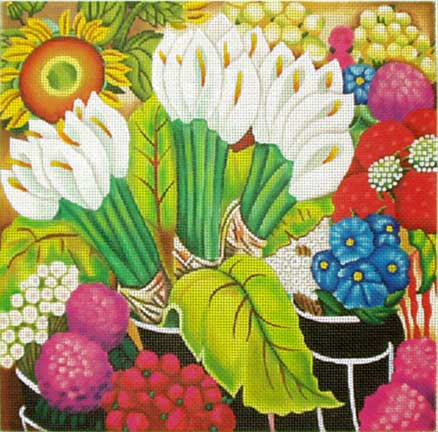 click here to view larger image of Flower Market (hand painted canvases)