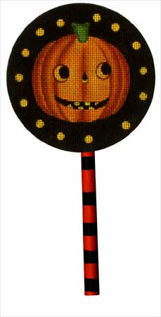 click here to view larger image of Jack-O-Lantern  Lollipop (with handpainted wooden stick) (hand painted canvases)