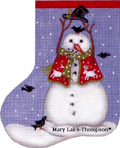 click here to view larger image of Black Bird Snowman Mini Sock (hand painted canvases)