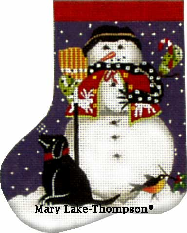 click here to view larger image of Black Dog Snowman Mini Sock (hand painted canvases)