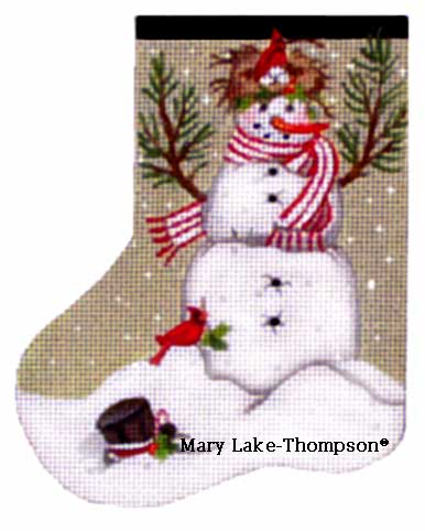 click here to view larger image of Bird Nest Snowman Mini Sock (hand painted canvases)
