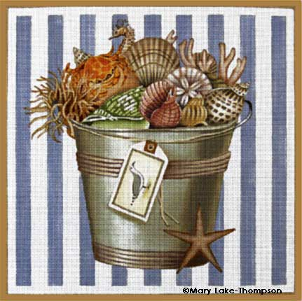 click here to view larger image of Bucket of Shells (hand painted canvases)