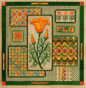click here to view larger image of California Poppy Collage (counted canvas work)