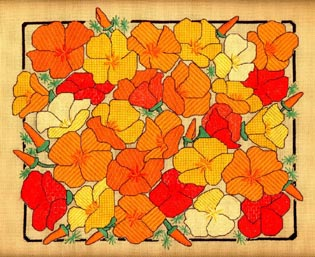 click here to view larger image of California Poppies (counted canvas work)
