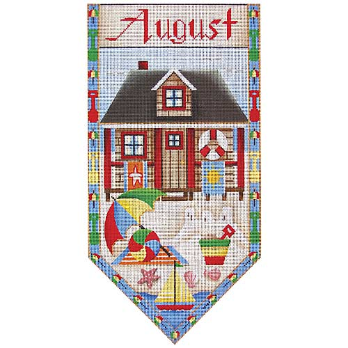 click here to view larger image of August Cottage Banner (hand painted canvases)