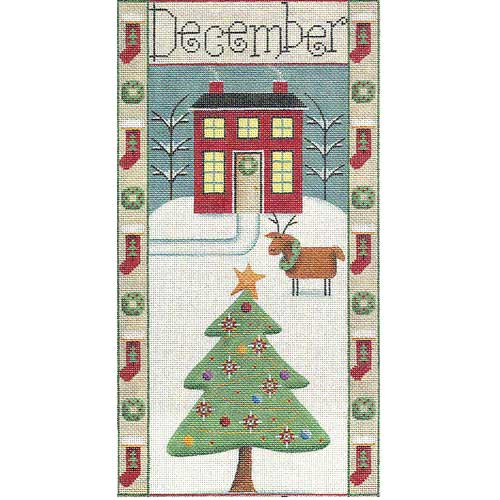 click here to view larger image of December / Christmas Folk Banner (hand painted canvases)