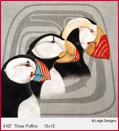 click here to view larger image of Three Puffins (hand painted canvases)