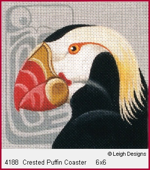 click here to view larger image of Crested Puffin Coaster (hand painted canvases)