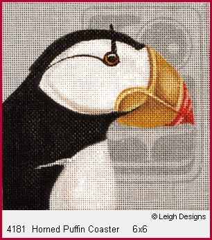 click here to view larger image of Horned Puffin Coaster (hand painted canvases)